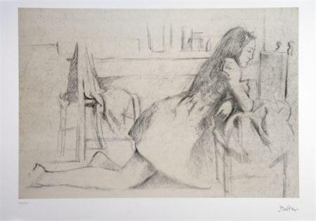 Lithographie Balthus - Jeune fille agenouillée