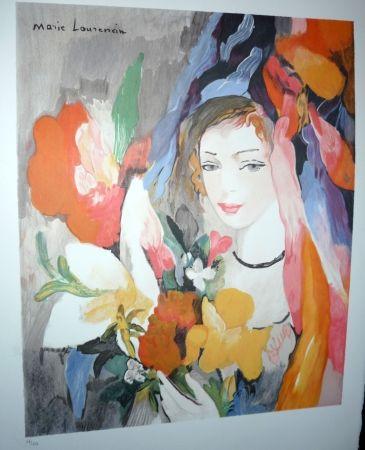 Lithographie Laurencin - Jeune fille au bouquet