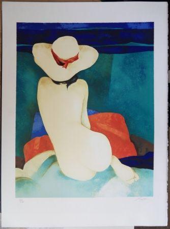 Lithographie Gaveau - Jeune fille au chapeau
