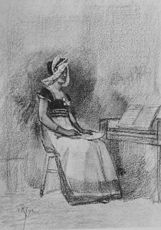 Lithographie Rops - Jeune fille au clavenin