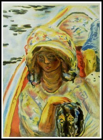 Lithographie Bonnard - JEUNE FILLE DANS UNE BARQUE