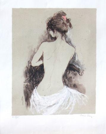 Lithographie Charoy - Jeune fille de dos