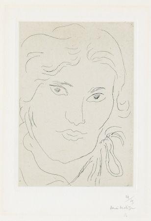 Gravure Matisse - Jeune fille de face, flot de ruban sur l'épaule gauche