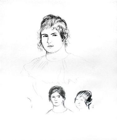 Lithographie Renoir - Jeune fille en buste et etudes de têtes (ou Gabrielle) [Three Sketches of Faces, Gabrielle]