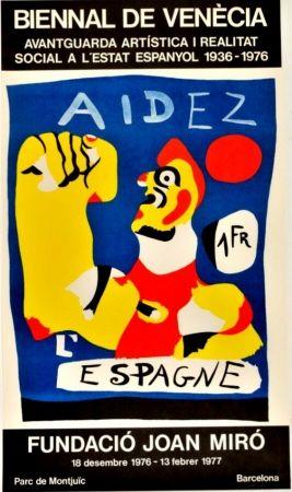 Affiche Miró - Joan Miró -Aidez l'Espagne. Biennal de Venecia