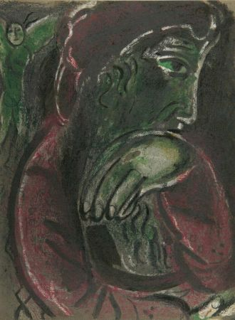 Lithographie Chagall - Job Disconsolate from