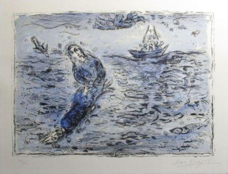 Lithographie Chagall - Jonas Sur Fond Bleu