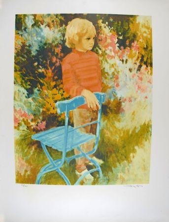 Lithographie Kitslaar - Jongetje bij stoel
