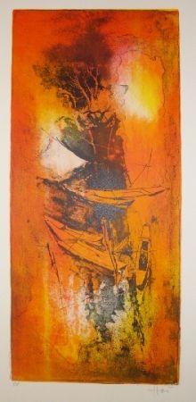 Lithographie Lebadang - Jonques amarées