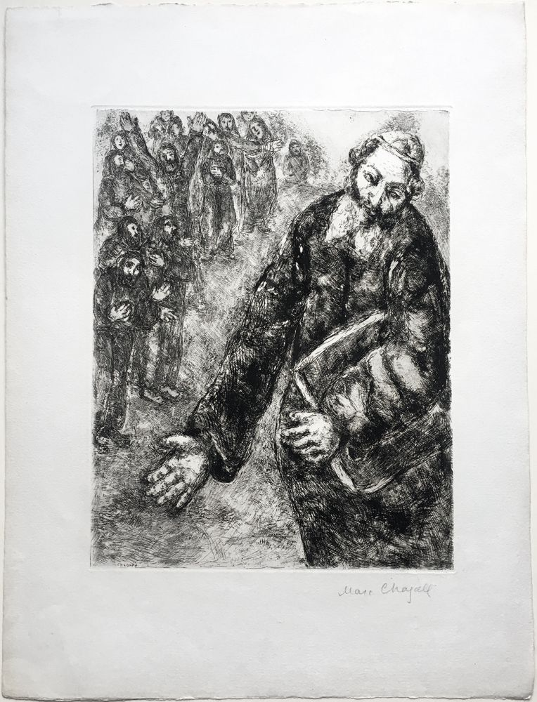 Eau-Forte Chagall - Josué lit les Paroles de la Loi (La Bible. Teriade 1956). Épreuve signée.