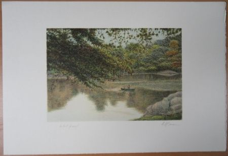 Lithographie Altman - Journey on the lake
