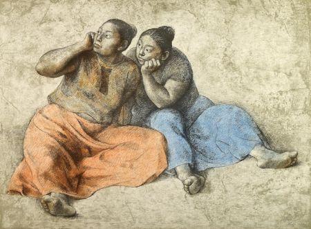 Lithographie Zuniga - Juchitecas II