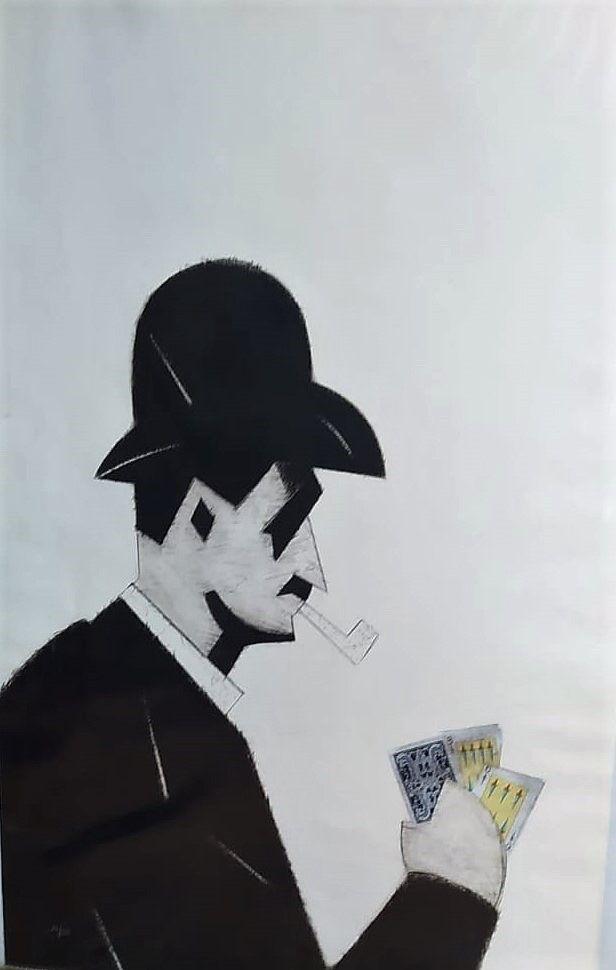 Eau-Forte Valdés - Jugador de cartas