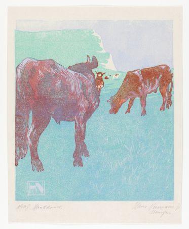 Gravure Sur Bois Neumann - Jungbullen auf der Weide (Young bulls in the pasture)