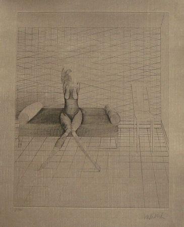 Eau-Forte Et Aquatinte Wunderlich - Jutta sur le canapé du studio
