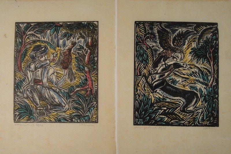 Gravure Sur Bois Klemm - König Sindibad und sein Falke