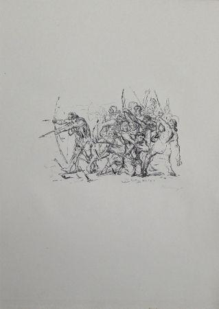 Lithographie Slevogt - Kampf der Hellenen gegen die Barbaren