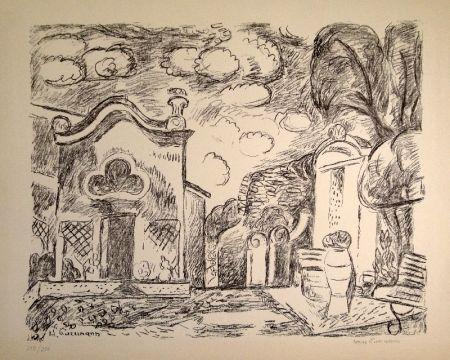 Lithographie Purrmann - Kapelle und Brunnen in Levanto