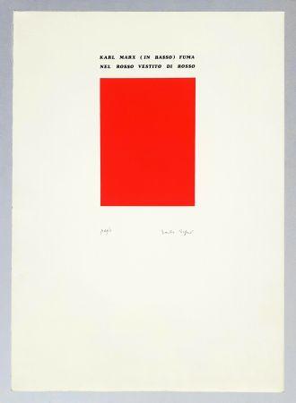 Sérigraphie Isgro - Karl Marx (in basso) fuma nel rosso vestito di rosso