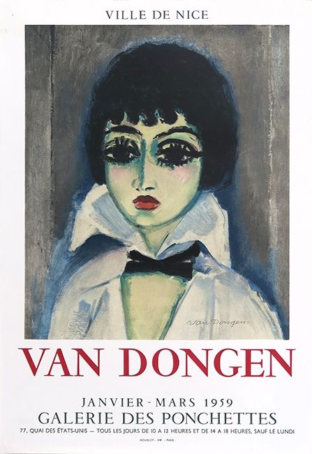 Lithographie Van Dongen - Kees Van Dongen (1877-1968). Affiche Galerie des Ponchettes. 1959. Lithographie.