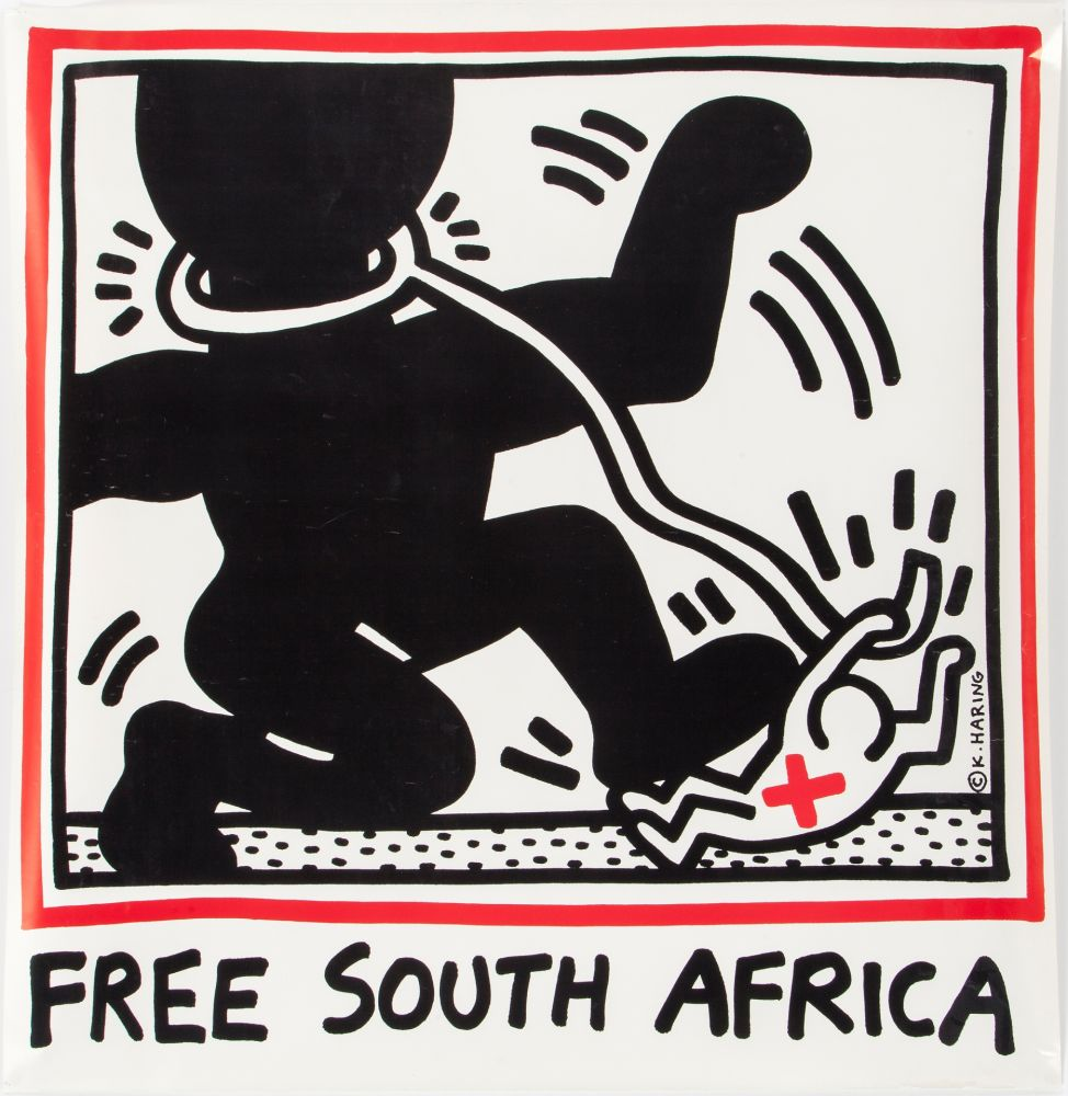 Lithographie Haring - Keith Haring 'Free South Africa' 1985 Plate Signed Original Pop Art Poster