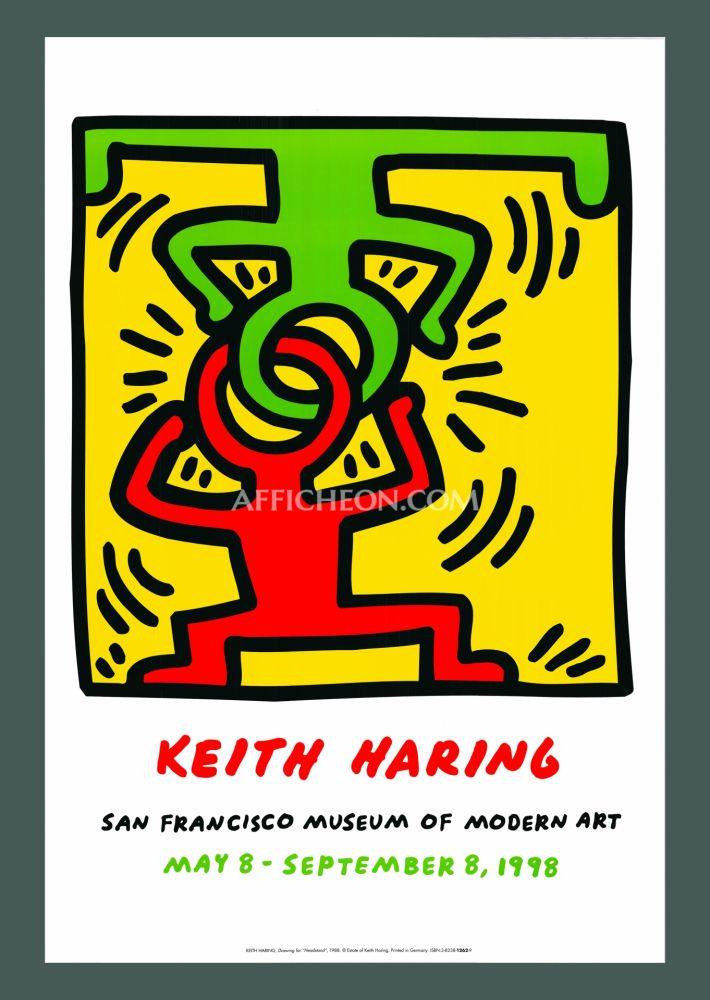 Lithographie Haring - Keith Haring 'Headstand' 1998 Plate Signed Original Pop Art Poster with COA