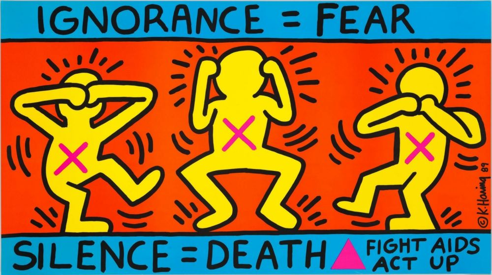 Lithographie Haring - Keith Haring 'Ignorance = Fear' 1989 Plate Signed Original Pop Art Poster