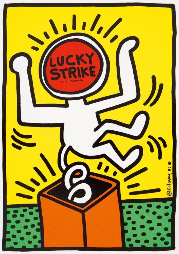 Lithographie Haring - Keith Haring 'Lucky Strike II' 1987 Plate Signed Original Pop Art Poster