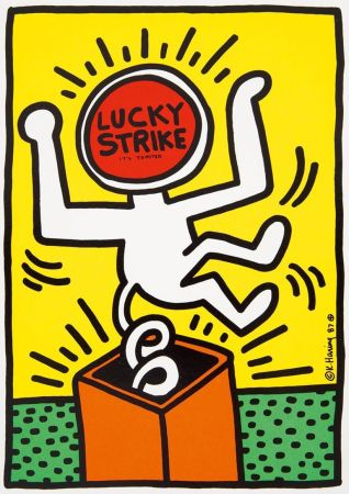 Lithographie Haring - Keith Haring 'Lucky Strike II' 1987 Plate Signed Original Pop Art Poster with COA