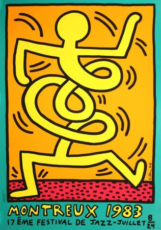 Sérigraphie Haring - Keith Haring 'Montreux Jazz Festival III' 1983 Plate Signed Original Pop Art Poster