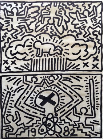 Lithographie Haring - Keith Haring 'Nuclear Disarmament' 1982 Plate Signed Original Pop Art Poster