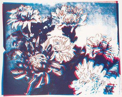 Sérigraphie Warhol - Kiku Blue & Red