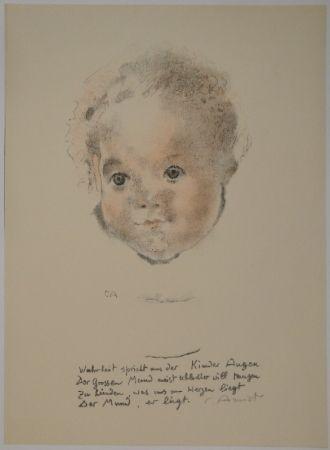 Lithographie Amiet - Kinderköpfchen