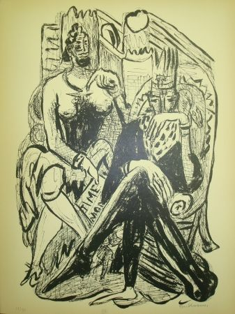 Lithographie Beckmann - King and Demagogue
