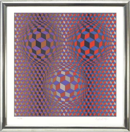 Lithographie Vasarely - Komposition In Rot Und Violett
