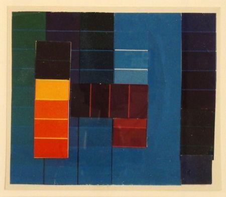 Monotype Itten - Komposition mit Farbkontrasten aus Blau/Grün/Violett und Rot/Gelb