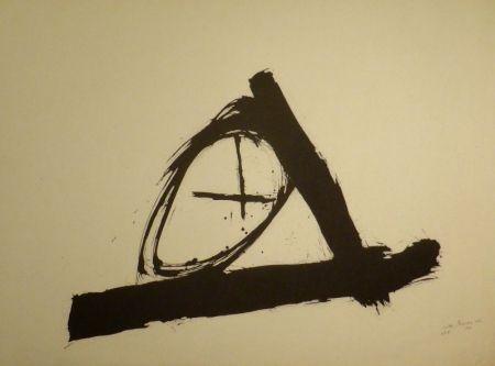 Lithographie Bissier - Komposition mit Kreuz und Kreis