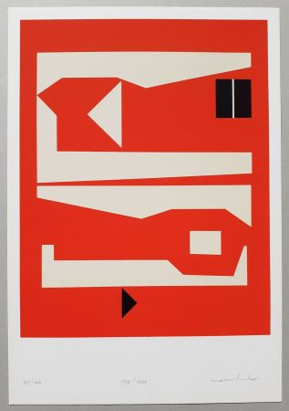 Sérigraphie Huber - Komposition rot-weiss-schwarz