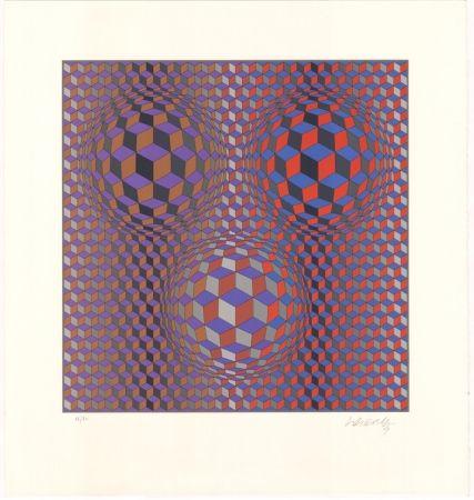 Lithographie Vasarely - Konjunktion