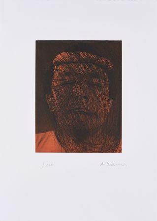Lithographie Rainer - Kopf auf Braun