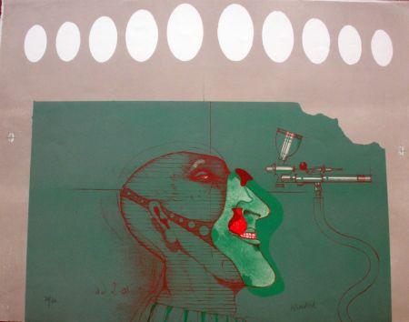 Lithographie Wunderlich - Kopft mit maske