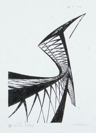 Linogravure Strohmeyer - Kran (Crane)