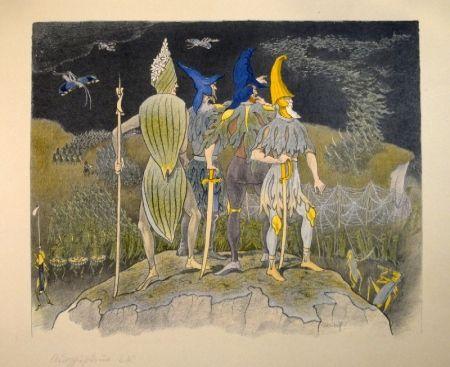 """Lithographie Kreidolf - """"Krieg"""" Germer-, Rittersporn, blauer und gelber Eisenhut-Ritter stehen als Feldherren auf einem Hügel über einem vorüberziehenden Heuschrecken-Heer."""