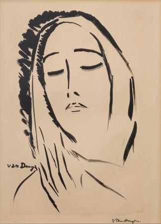 Lithographie Van Dongen - L'écharpe. 1925.