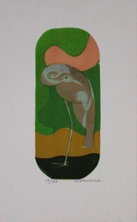 Lithographie Minaux - L'échassier / Wading Bird