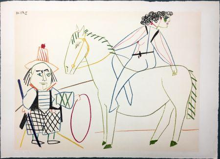 Lithographie Picasso - L'écuyère et l'homme au cerceau (La Comédie Humaine - Verve 29-30. Vallauris 1954)