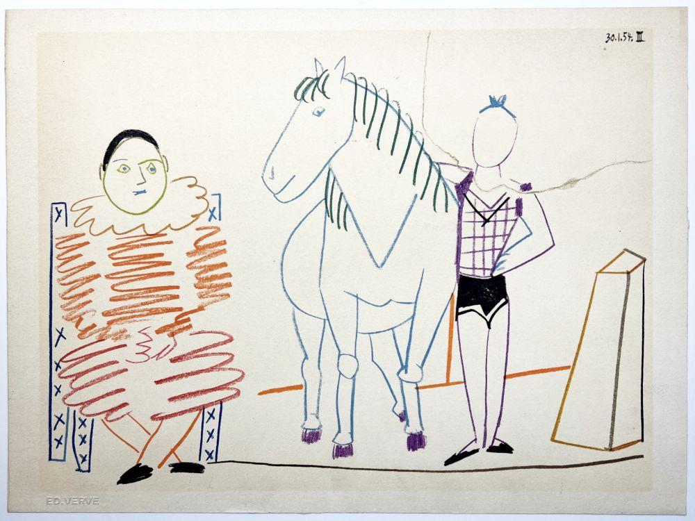 Lithographie Picasso - L'écuyère, le cheval et le clown (La Comédie Humaine - Verve 29-30. 1954).