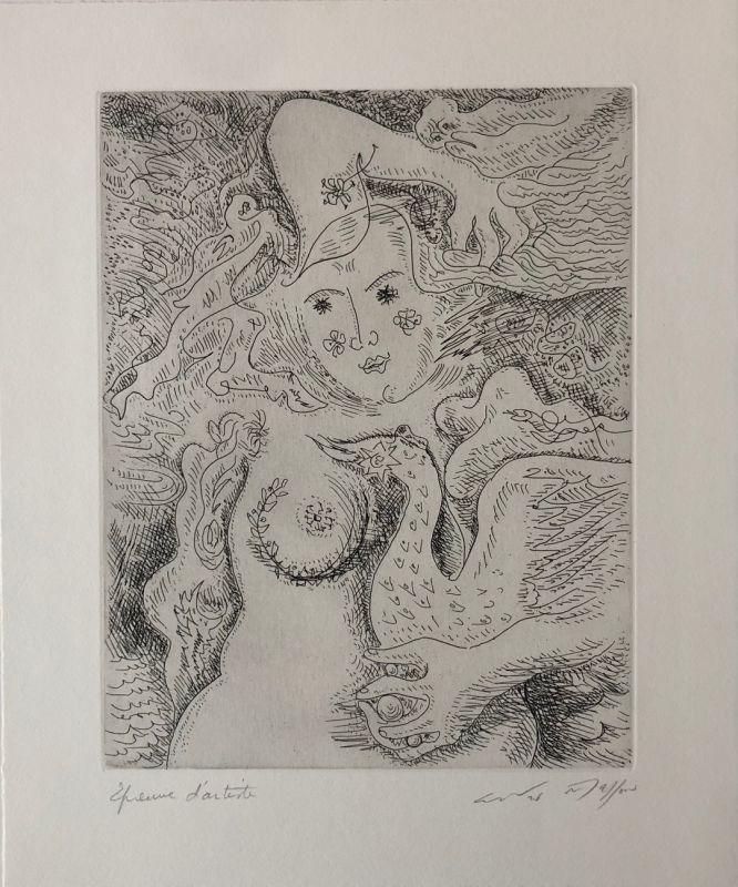 Gravure Masson - Léda aux trois perles