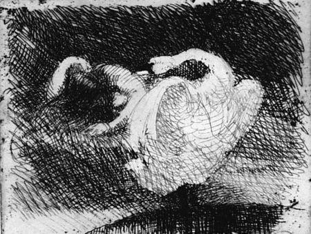 Eau-Forte Besnard - Léda s'endort