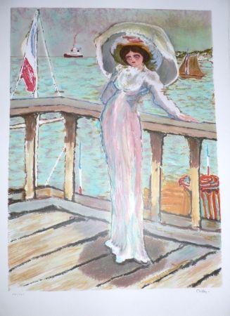 Lithographie Dilley - L'élégante sur le ponton